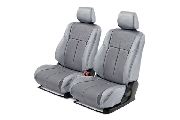 Leathercraft® - Front Light Gray Custom Leather Seat Covers with Gray Insert