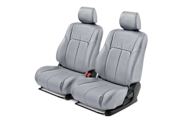 Leathercraft® - Front Light Gray Custom Leather Seat Covers with Light Gray Insert