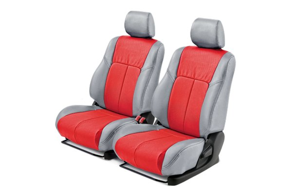Leathercraft® - Front Light Gray Custom Leather Seat Covers with Red Insert