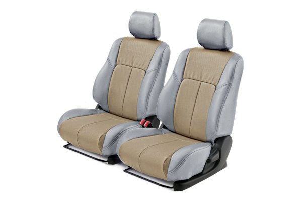 Leathercraft® - Front Light Gray Custom Leather Seat Covers with Tan Insert