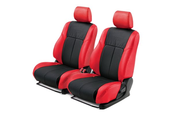 Leathercraft® - Front Red Custom Leather Seat Covers with Black Insert