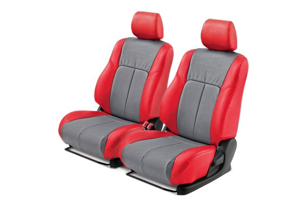 Leathercraft® - Front Red Custom Leather Seat Covers with Gray Insert