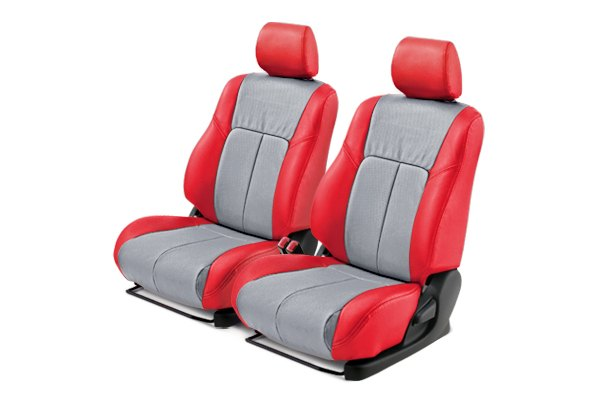 Leathercraft® - Front Red Custom Leather Seat Covers with Light Gray Insert