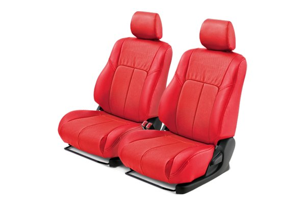 Leathercraft� - Front Red Custom Leather Seat Covers with Red Insert