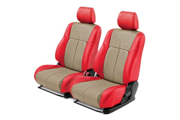 Leathercraft® - Front Red Custom Leather Seat Covers with Tan Insert