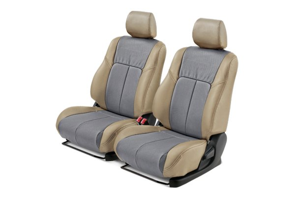 Leathercraft® - Front Tan Custom Leather Seat Covers with Gray Insert