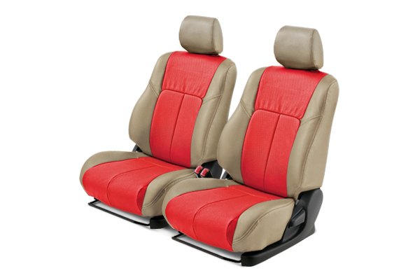 Leathercraft® - Front Tan Custom Leather Seat Covers with Red Insert