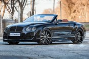 LEXANI® - LSS-10 Black with Machined Face, Pinstripe and Exposed Lugs on Bentley Continental GT