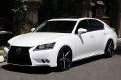 LEXANI® - R-FOUR Gloss Black with Machined Accents and Exposed Lugs on Lexus GS350