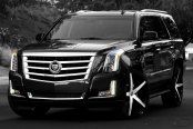 LEXANI® - R-FOUR Gloss Black with Machined Face and Covered Lugs on Cadillac Escalade