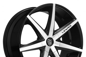 "LEXANI® - R-SEVEN Gloss Black with Machined Face (22"" x 9"", +15 to +45 Offsets, 5x105-130 Bolt Patterns, 74.1-110mm Hubs)"