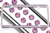 License 2 Bling® - 256 Series Chrome Frame with Hot Pink Crystals
