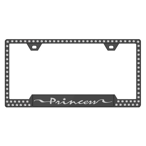 License 2 Bling® - Graphic Series Princess Print Black Frame with Ice Crystals