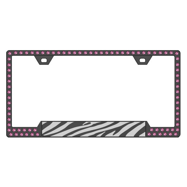 License 2 Bling® - Graphic Series Zebra Print Black Frame with Rose Crystals