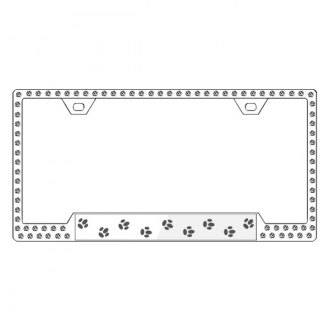 License2Bling® - Graphic Series Paw Print Chrome Frame with Ice Crystals