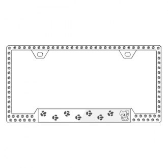 License2Bling® - Graphic Series Puppy Print Chrome Frame with Ice Crystals
