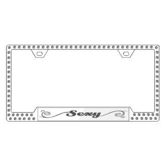 License2Bling® - Graphic Series Sexy Print Chrome Frame with Ice Crystals