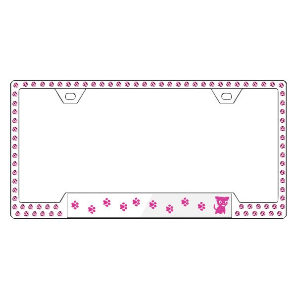 License 2 Bling® - Graphic Series Kitty Print Chrome Frame with Rose Crystals