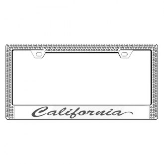 License2Bling® - Graphic Series California Print Chrome Frame with Ice Crystals