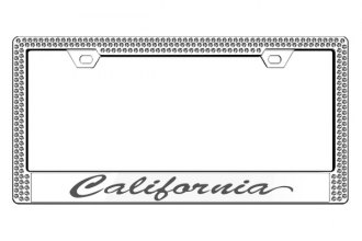 License 2 Bling® - Graphic Series California Print Chrome Frame (2 Rows Ice Crystals, 1 Insert)