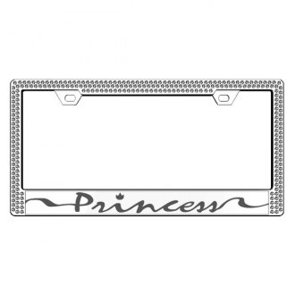License2Bling® - Graphic Series Princess Print Chrome Frame with Ice Crystals