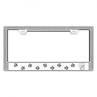 License 2 Bling® - Graphic Series Puppy Print Chrome Frame with Ice Crystals