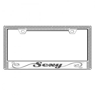 License 2 Bling® - Graphic Series Sexy Print Chrome Frame with Ice Crystals