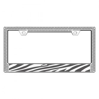 License2Bling® - Graphic Series Zebra Print Chrome Frame with Ice Crystals