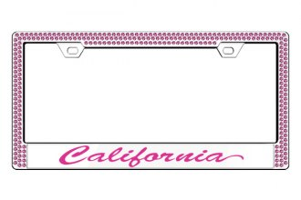 License 2 Bling® - Graphic Series California Print Chrome Frame (2 Rows Rose Crystals, 1 Insert)