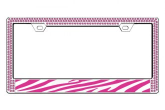 License 2 Bling® - Graphic Series Zebra Print Chrome Frame (2 Rows Rose Crystals, 1 Insert)