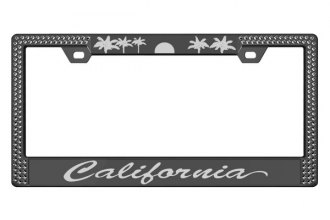 License 2 Bling® - Graphic Series California Print Black Frame (2 Rows Black Crystals, 2 Inserts)