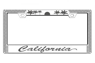 License 2 Bling® - Graphic Series California Print Chrome Frame (2 Rows Ice Crystals, 2 Inserts)