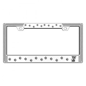 License2Bling® - Graphic Series Kitty Print Chrome Frame with Ice Crystals