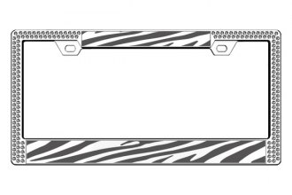 License 2 Bling® - Graphic Series Zebra Print Chrome Frame (2 Rows Ice Crystals, 2 Inserts)