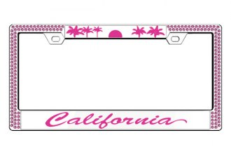 License 2 Bling® - Graphic Series California Print Chrome Frame (2 Rows Rose Crystals, 2 Inserts)