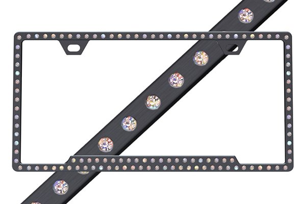 License 2 Bling® - Slimline Series Black Frame with Aurore Boreale Crystals
