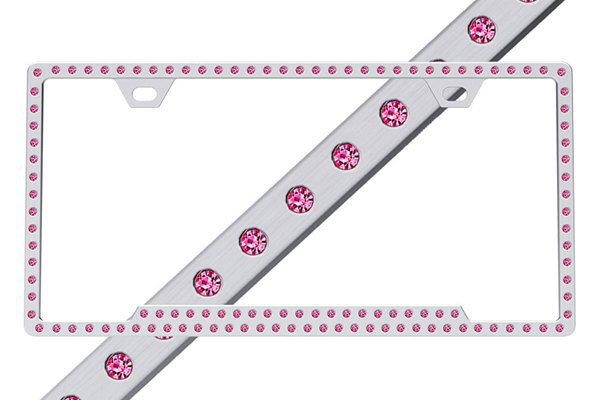 License 2 Bling® - Slimline Series Chrome Frame with Hot Pink Crystals