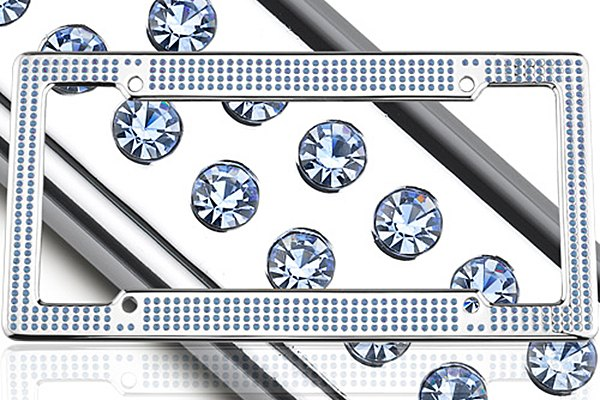 License 2 Bling® - VIP Series Chrome Frame with Light Blue Crystals
