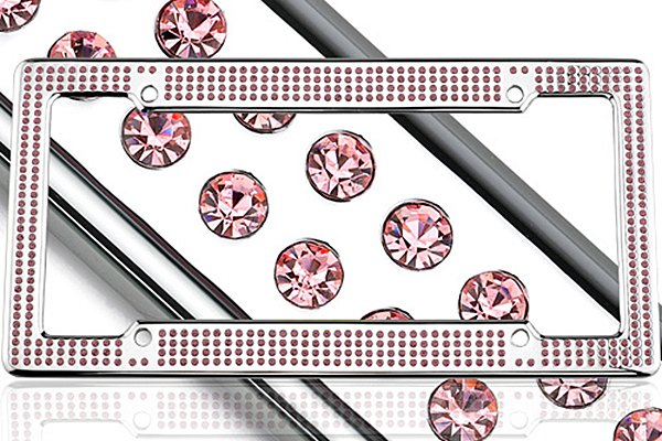 License 2 Bling® - VIP Series Chrome Frame with Light Pink Crystals