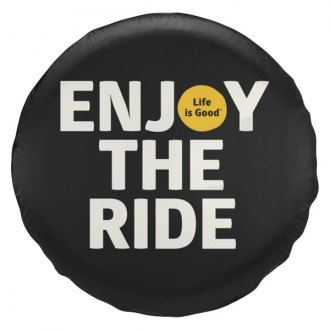 "Life Is Good® - 32"" x 12"" ""Enjoy The Ride"" Black Tire Cover"
