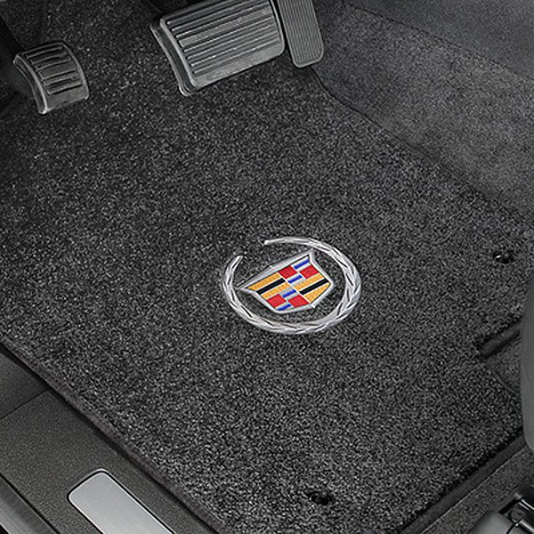 Ultimat™ Custom Fit 1st Row Ebony Floor Mats With Cadillac Logo By Lloyd®