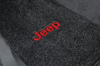 Lloyd® - Ultimat™ Custom Fit 1st Row Black Floor Mats with Red Letters on Black Jeep Logo