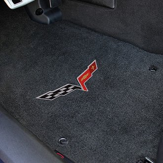 Lloyd® - Velourtex™ Custom Fit 1st Row Ebony Floor Mats With C6 Logo