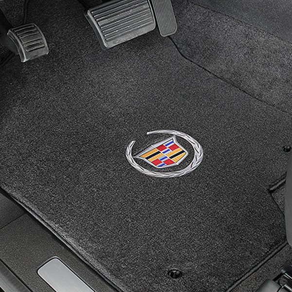 Velourtex™ Custom Fit 1st Row Ebony Floor Mats With Cadillac Logo by Lloyd®