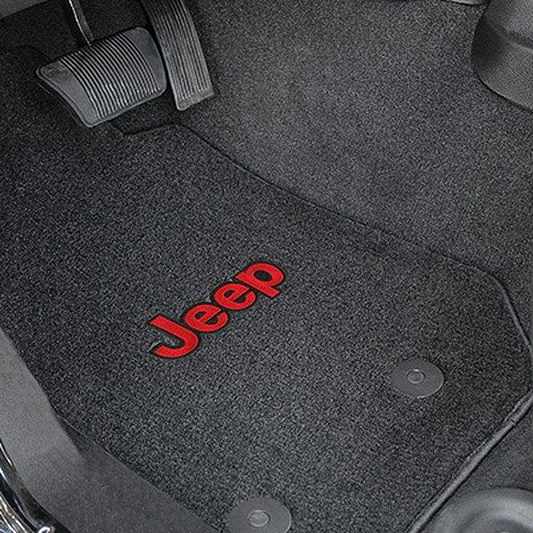 Velourtex™ Custom Fit 1st Row Black Floor Mats With Jeep Logo By Lloyd®