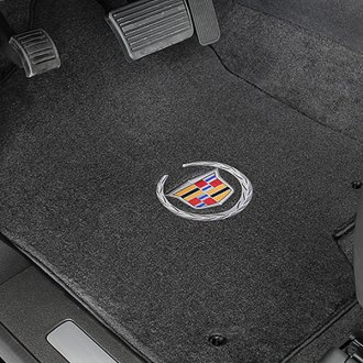 Lloyd® - Velourtex™ Custom Fit 1st and 2nd Row Ebony Floor Mats With Cadillac Logo