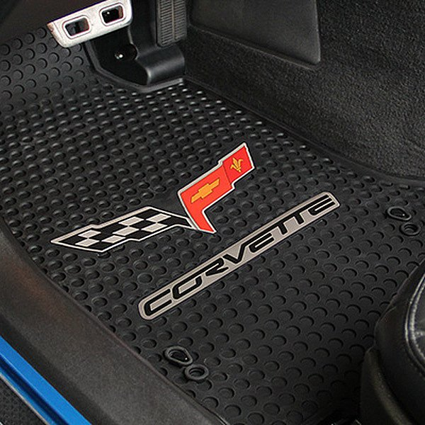 Signature™ Custom Fit 1st Row Black Floor Mats With C6 Logo by Lloyd®