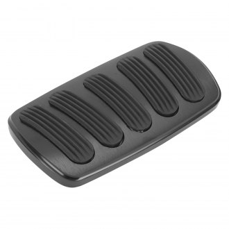Lokar® - Billet Aluminum Curved XL Non-Power Brake Pedal Pad with Rubber Inserts