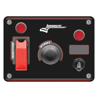 Longacre® - Aluminum Start and Ignition Panel with 1 Accessory Switch and Weatherproof Switch Cover