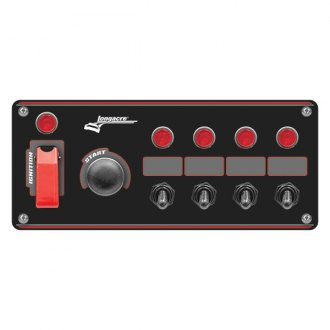 Longacre® - Aluminum Start and Ignition Panel with 4 Accessory Switch and 4 Pilot Lights